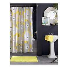 Yellow and Grey bathroom, I will have one of the rooms in our new house yellow & charcoal grey!