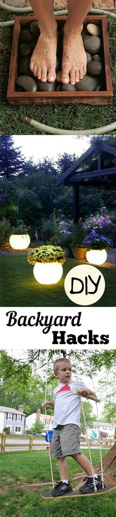 DIY Backyard Hacks Really love the glow in the dark planters pots idea. Simply genius.