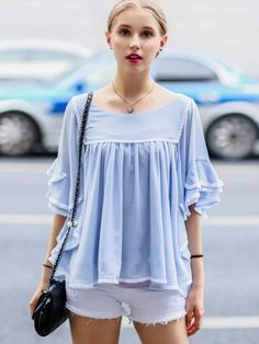 Blue Layered Ruffle Sleeve Ruched Chiffon Blouse | abaday