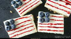 American flag cheesecake bars for Memorial Day. 4th Of July Celebration, 4th Of July Party, Fourth Of July, Memorial Day Flag, Memorial Day Foods, Cheesecake Bars, Simple Cheesecake, And July, Patriotic Party