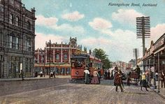Karangahape Road, Auckland in about Postcard from the G & G Series ~ No. Printed in Berlin. Norfolk Island, Antarctica, Auckland, Historical Photos, Continents, Kiwi, New Zealand, Postcards, Berlin
