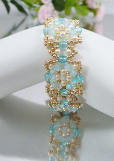 Woven Bracelet Swarovski Crystal Light Azure ABx2