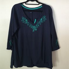 Lucky brand tshirt Lucky brand tshirt 3/4 sleeve with embroidery detail Lucky Brand Tops Tees - Long Sleeve