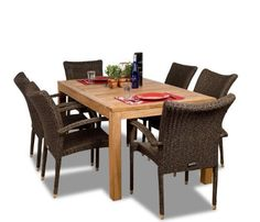 Amazonia Teak Brussels 7-Piece Teak/Wicker Rectangular Dining Set by Amazonia Teak. $1609.60. Some assembly required. 7 individual pieces. Color: table light brown  chairs dark brown. 1 rectangular table 35w x 63d x 29h 6 armchairs 23w x 25d x 35h. Free feron's wood sealer/preservative for longest durability. Penetrating oil that works great against the effects of air pollution salt air, and mildew growth. For best protection, perform this maintenance every season or as...