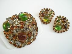 Alice Caviness Large Brooch and Clip-on Earrings Fall Colors Brown Green.