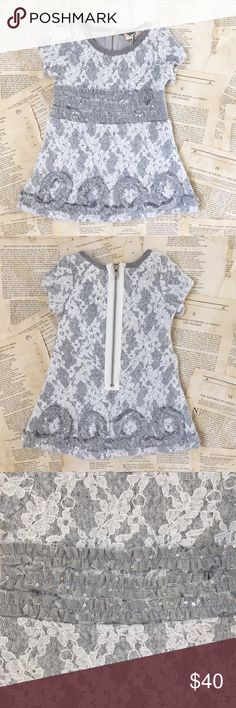 Kids! Sara Sara dress Baby Sara by Sara Sara. Gray and white short sleeve dress. Sweatshirt material with lace overlay. Sequin detail. Back zipper. Fully lined. So stylish and comfy for your little one. Sara Sara Dresses Casual