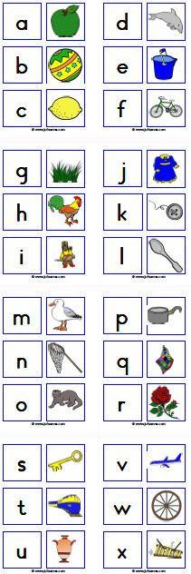 MEMORY KLANKEN: Zoek 2 kaarten waarvan de afbeelding op de ene kaart begint met de klank die op de andere kaart staat. TIP: Gebruik 2 verschillende kleuren van kaarten. De kaarten met de letters in een kleur en de kaarten met de afbeeldingen in een andere kleur.