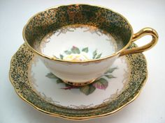 2 x COALPORT FOREST GREEN GOLD GILT ORCHID TEA CUP AND SAUCER ...