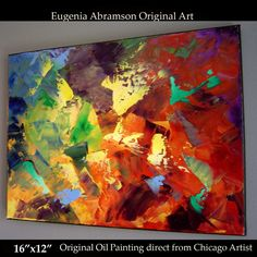 Original OIL PAINTING on Canvas 16x12 Abstract Art Wall Decor Eugenia Abramson #Abstract