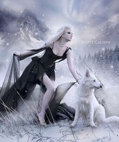 winter of wolves by WCS-Wildcat on DeviantArt Wolves And Women, The Howling, Wolf Moon, Pretty Wallpapers, Fantasy Art, Anime Art, Backdrops, Witch, Horror