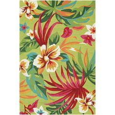 Miami Fern Green-Red Indoor/Outdoor Area Rug - x (Painted Fern/Fern-Red), Green, Dream Decor Rugs (Polypropylene, Floral & Botanical) Indoor Outdoor Area Rugs, Outdoor Areas, Outdoor Patios, Round Area Rugs, Dream Decor, Mold And Mildew, Colorful Rugs, 1 Piece, Fern