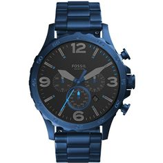 8d066eb70e7 Fossil Men s Chronograph Nate Blue Stainless Steel Bracelet Watch 50mm (555  BRL) ❤ liked