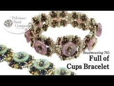 """ Full of Cups "" Bracelet free tutorial from our YouTube page. This design uses cup button beads, superduo beads, rulla beads, and Miyuki seed beads in 8/0 and 11/0. Get supplies from www.potomacbeads.com."
