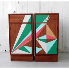 Alpha Fleur Mid Century Geometric Painted Bedside Cabinets ($950) ❤ liked on Polyvore featuring home, furniture, storage & shelves, handpainted furniture, midcentury furniture, mid century modern furniture, mid century style furniture and mid-century modern furniture