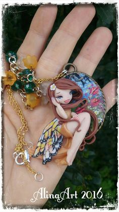 Necklace  fairy cammeo  handmade in polimer by AlinaArtCreations