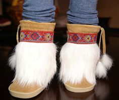 "American Girl Doll Hand Made Native Indian Mukluk Boots ,Tan Suede White Rabbit Fur w Decorative Trim for 18"" Doll"