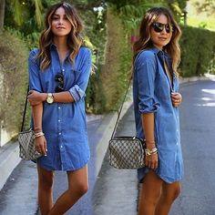 Para Mujer Casual Suelto Jeans Denim Azul Camisa Blusa Tops Mini Vestido Talla Plus
