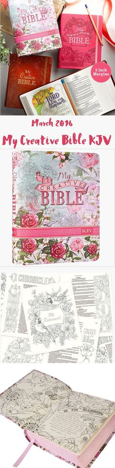 My Creative BibleKJV is an exciting new way to creatively document your spiritual journey and visually experience some of the most precious verses in the Bible. This King James Version Journaling Bible is set in a single-column format with two-inch-wide ruled margins for note-taking, scribing your reflections or creative expression. Nearly 400 hand-drawn line-art illustrations …Read more...
