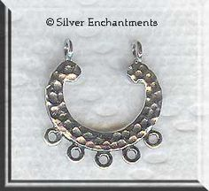 Sterling Silver Fancy Chandelier Components with 3 Loops, Pair ...