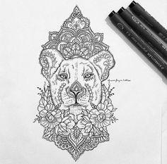 Image result for lioness mandala tattoo