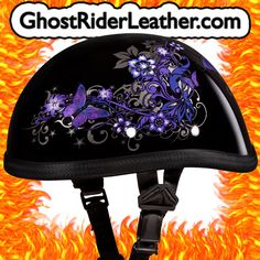Ladies purple butterfly on black background helmet. This one is a beauty!   FEATURES:      DAYTONA HELMETS BRAND     PURPLE BUTTERFLY DESIGN ON BLACK BACKGROUND     CLEAR COAT     SHORTY BEANIE STYLE HELMET     NOVELTY ONLY, THIS HELMET IS NOT DOT APPROVED!     PLUSH AND ABSORBENT LINING     LIGHT WEIGHT AND GORGEOUS!     WILL LOOK GREAT FOR YEARS!     BRAND NEW IN BOX, NO SECONDS OR JUNK!     FREE GROUND SHIPPING TO LOWER 48 STATES