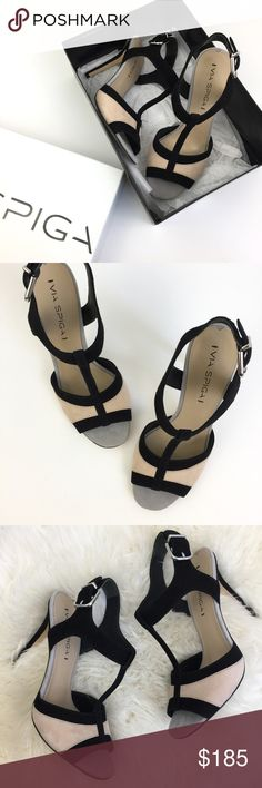 """Via Spiga """"Talisa"""" T-Strap Sandals NWT Black and nude color block Via Spiga t-strap sandals. Round peep toe with a 4.25"""" heel. Adjustable ankle strap with buckle closure. Suede upper/leather lining and sole. Size 8. Run true to size in my opinion. Brand new and never worn. In original box. Via Spiga Shoes Heels"""