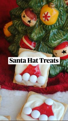 Easy Holiday Desserts, Holiday Cookie Recipes, Holiday Cakes, Holiday Fun, Christmas Foods, Christmas Treats, Christmas Recipes, Christmas Time, Santa Hat