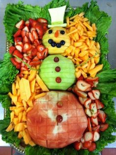 Snowman Fruit Platter--Great Idea!! Just make ahead & pull out after dinner with all the desserts