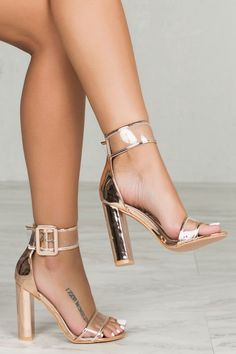 Buckle up in this gorgeous block heel. The Neela features clear transparent straps. Pair with all your favorite outfits and add instant glam to your look. - Fits true to size for most - 4 inch heel Yo.I need to see her in these shoes seeeeeexy Ankle Strap Heels, Ankle Straps, Hot Shoes, Shoes Heels, Gold Heels, Stiletto Heels, Louboutin Shoes, Stilettos, Black Heels