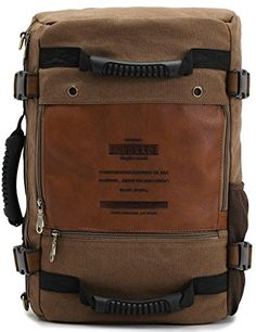 Leaper Canvas Heavy Duty Sport Backpack Travel Hiking Rucksack Multifunction Camping Bag Dark Khaki