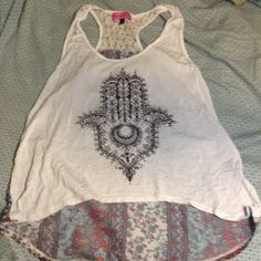 Shirt Razorback tank top with patterned blouse material on the back and zen hand on the front Sugar high Tops Tank Tops
