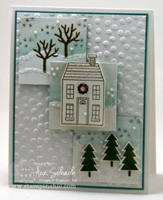 Holiday Home by Ann Schach, Stamp Set: Holiday Home: Inks: Lost Lagoon, Soft Suede, Mossy Meadow, Smoky Slate, Cherry Cobbler Blendability; Card Stock: Shimmer White, Whisper White, Lost Lagoon; Tools: Aqua Painter, Big Shot, Homemade Holiday Framelits, Distressed Dots Textured Impressions Embossing Folder; Glitz and Glam: Pearls Basic Jewels, Dazzling Diamonds Stampin' Emboss Powder