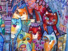 6 chats - Peinture,  58x46 cm ©2014 par Oxana Zaika -                                                            Art figuratif, Papier, Animaux, chat, chats, cat, cats, katze, gato