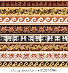 Ancient Greek Tattoo, Ancient Greek Art, Ancient Architecture, Futuristic Architecture, Greece Architecture, Greek Crafts, Iphone Wallpaper Themes, Greek Pattern, Floral Border