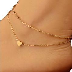 Ankle Bracelet, Leyorie Elegant Double Chain Heart Bead Anklets Beach Foot Golden Simple Jewelry Gift -- Very nice of your presence to drop by to visit our image. (This is our affiliate link) Jóias Body Chains, Beach Foot Jewelry, Ankle Jewelry, Fashion Jewelry, Women Jewelry, Fashion Fashion, Accesorios Casual, Anklet Bracelet, Foot Bracelet