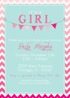 It's a Girl Baby Shower Invitation Printable by SplashOfSilver