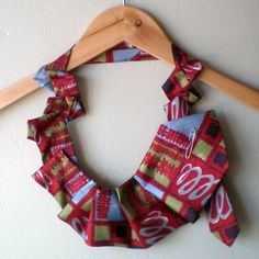 FREE DELIVERY - Upcycled Vintage Mens Tie Bib Style Necklace £7.50