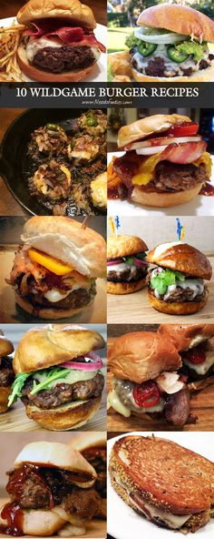 10 Wildgame Burger Recipes Are you looking for a delicious Burger recipe for all that ground wildgame in your freezer? I've compiled a list of the TOP 10 Burger Recipes on this website - Deer Burger Recipes, Bison Burger Recipe, Bison Recipes, Wild Game Recipes, Real Food Recipes, Cooking Recipes, Burger Ideas, Venison Burgers, Venison Chili