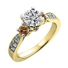 1.00 Carat (ctw) 14K Yellow Gold Champagne And White Diamond 3 Stone Engagement Ring 1 CT (Size 10). Other ring sizes may be shipped sooner. Most rings can be resized. Items is smaller than what appears in photo. Photo enlarged to show detail. Satisfaction Guaranteed. Return or exchange any order within 30 days. All our diamonds are conflict free. Gemstone : Diamond.