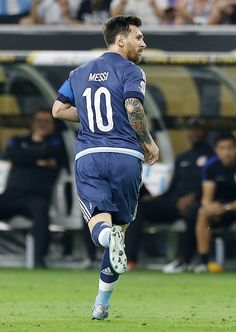 #COPA2016 Lionel Messi of Argentina celebrates after scoring the second goal of his team during the Semifinal match between United States and Argentina at NRG...