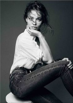 Emily DiDonato | by David Sims _for Trussardi W H I T E S H I R T J E A N S