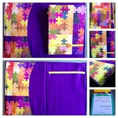 Porta bloco: uma opção de presente para o dia dos professores! Porta bloco em tecido com bolso multiuso e bloco artesanal costurado a mão. Com tecido 100% algodão e costura correntinha!