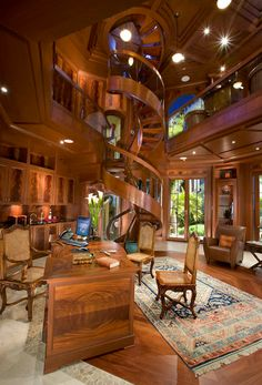 5 million dollar library - most expensive room in the world - carved from one tree and 3 stories!