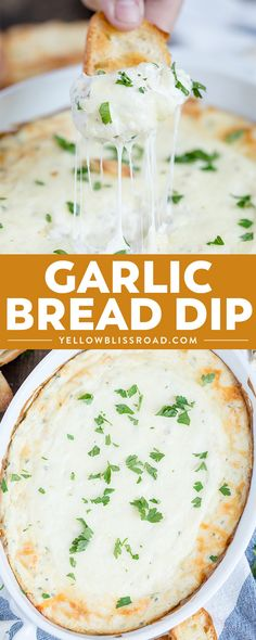 This Garlic Bread Cheese Dip has tons of creamy cheeses and roasted garlic - all the flavors of your favorite side dish in a delicious appetizer dip! via @yellowblissroad