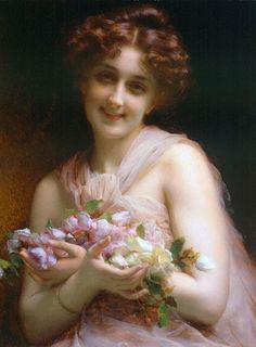 """Before 1910 - """"Girl with Flowers"""" by Etienne Adolphe Piot. French artist, born 1850- died 1910. Student of: William Adolphe Bouguereau (William Bouguereau) (1825-1905)"""