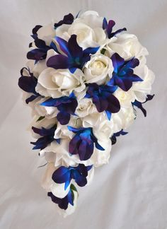 STEPHANIE ~ real touch white roses with scattered blue galaxy orchids #wedding #bouquet
