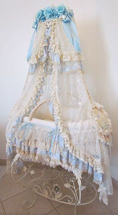 """A bassinet, bassinette, or cradle is a bed specifically for babies from birth to about four months, and small enough to provide a """"cocoon"""" that small babies find comforting. Baby Bassinet, Baby Cribs, Baby Baby, Baby Love, Baby Bedroom, Baby Room Decor, Lace Bedding, Vintage Pram, Photo Deco"""