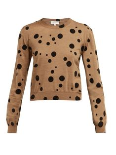 Chic Isa Arfen Flocked polka-dot wool sweater Womens Clothing from top store Isa Arfen, Party Looks, Wool Sweaters, Knitwear, Fitness Models, Polka Dots, Clothes For Women, Long Sleeve, Shopping