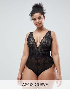 4c25f4ae7a ASOS DESIGN Curve Blair high leg lace body with lace up back Lingerie  Sleepwear, Slip