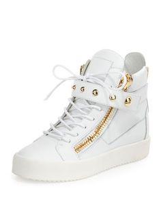 Lamaylorenz Leather High-Top Sneaker, White by Giuseppe Zanotti at Neiman Marcus.